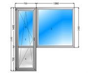 Балконный блок GUTWERK 58 мм / 3 кам / Roto 1 кам с/п 24 мм