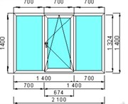 Окно пластиковое GUTWERK 58 мм / 3 кам / Roto 2 кам с/п 32 мм